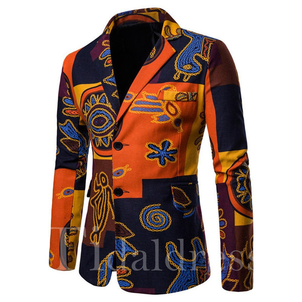 Patchwork Slim Geometric Print Mens Casual Blazer