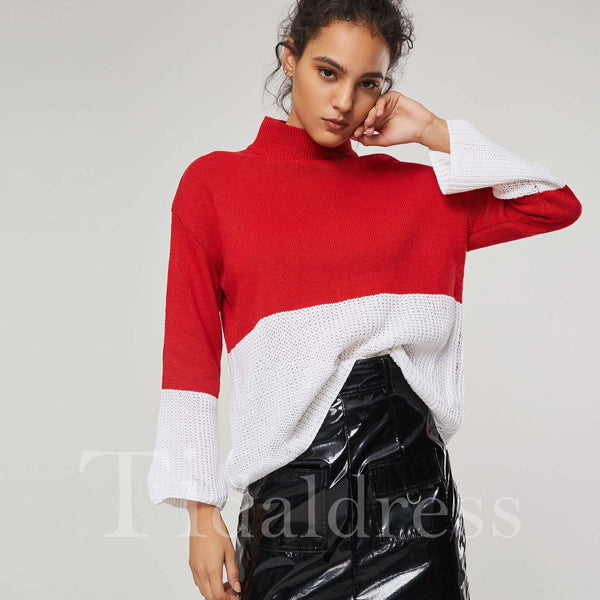 Color Block High Collar Pullover Knitwear