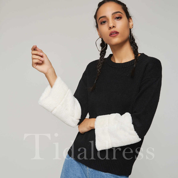 Patchwork Pullover Round Neck Color Block Sweater