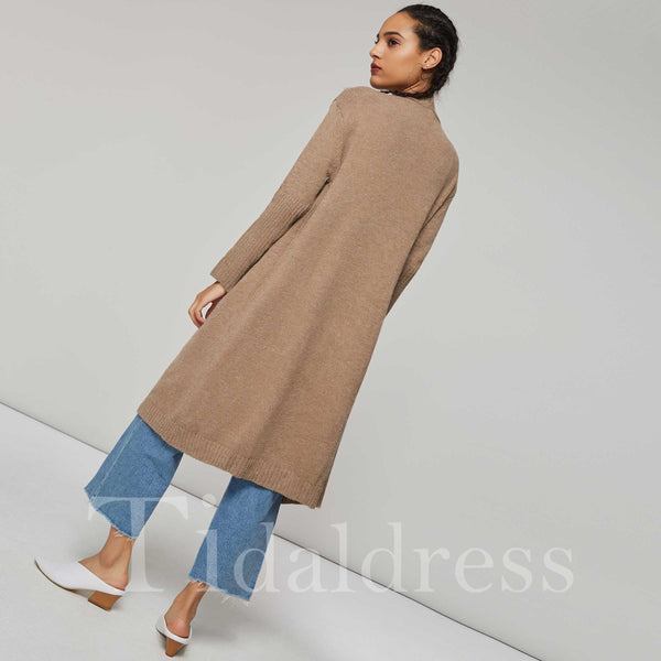 Loose Long Length Wide Pocket Women's Cardigan