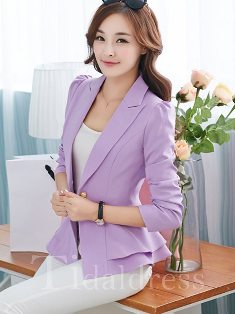Lapel Slim One Button Falbala Women's Blazer