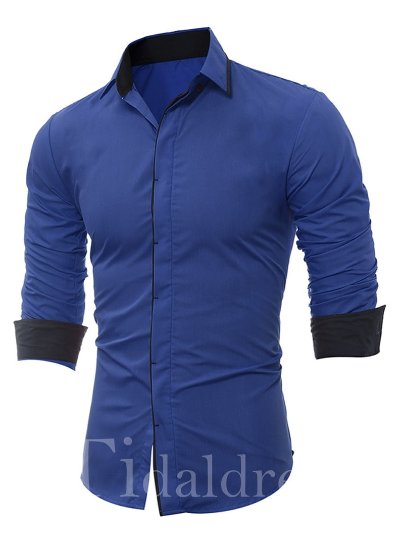Plain Single-Breasted Lapel Long Sleeve Men's Shirt