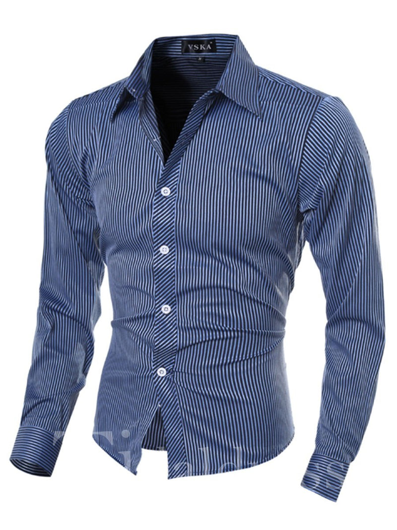 Patchwork Cotton Lapel Slim Model Men's Shirt