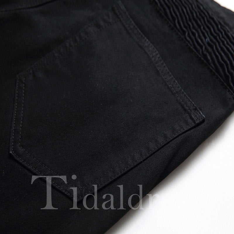 Pleated Black Straight Zipper Men's Casual Shorts