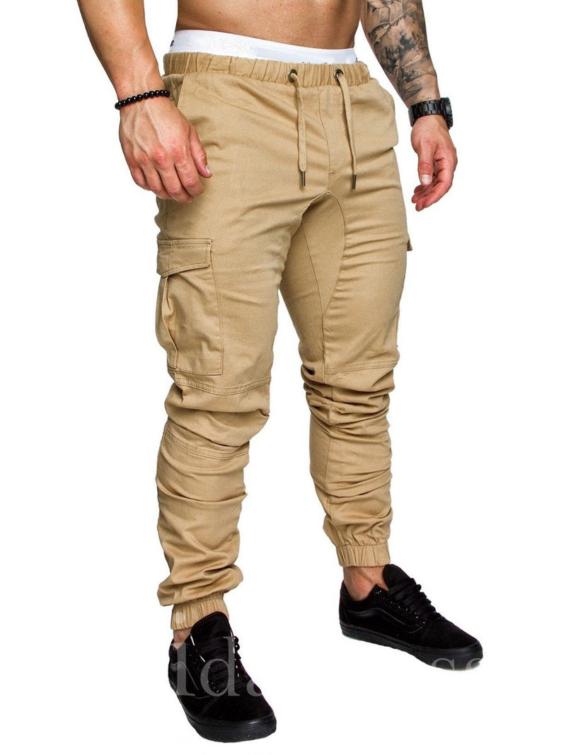 Pocket Plain Drawstring Slim Model Men's Pants