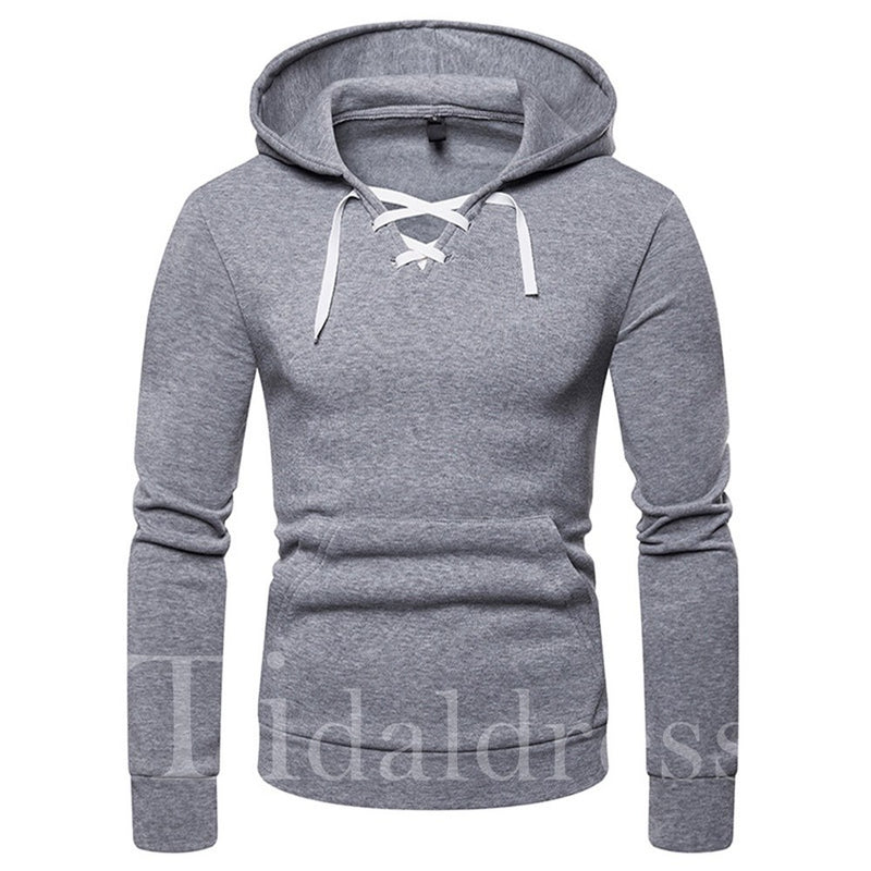 Men Slim Lace-up Pullover Hoodie