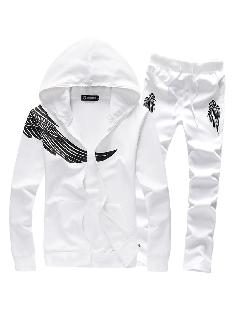 Print Zipper Pocket Lace-Up Men's Suit