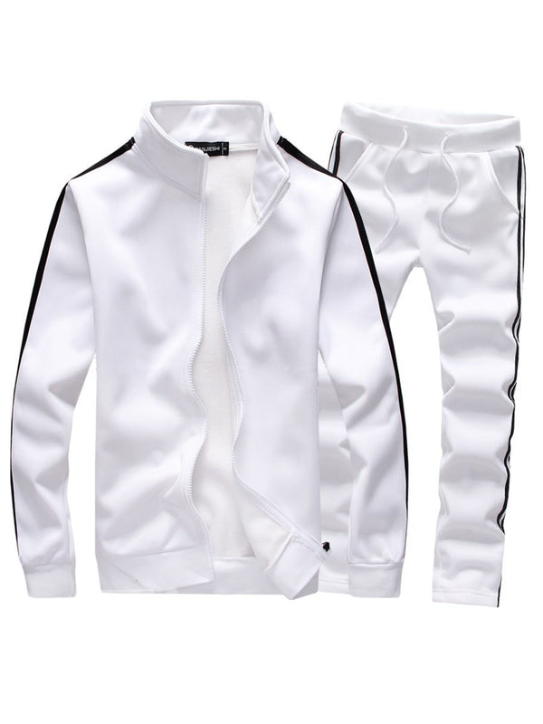 Zipper Stripe Stand Collar Pocket Men's Suit
