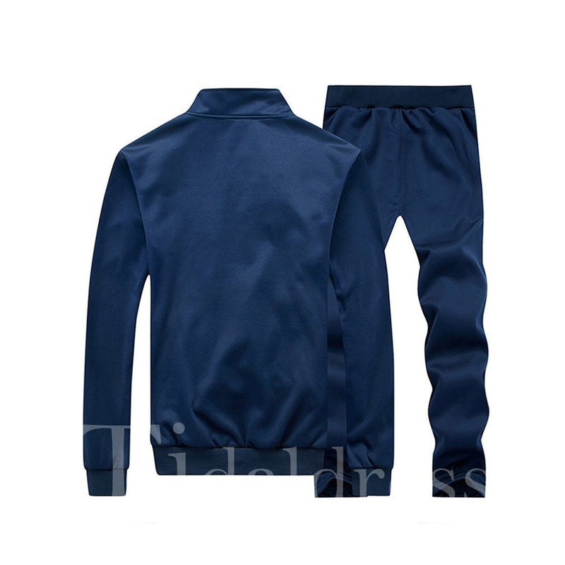 Zipper Plain Comfortable Solid Color Men's Suit