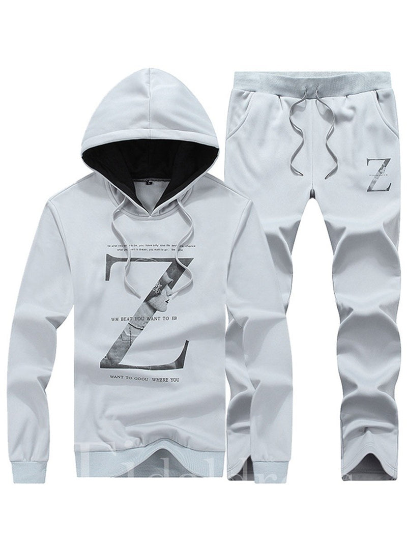Letter Print Thin Cotton Men's Sports Suits