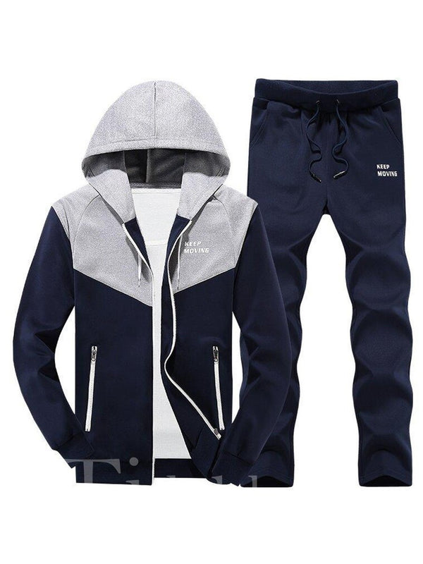 Hooded Patchwork Long Pant Men's Tracksuit