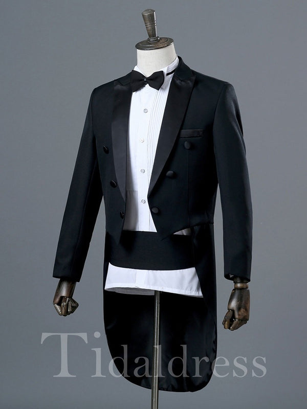 Solid Color Slim Men's Swallow-Tailed Dress Suit