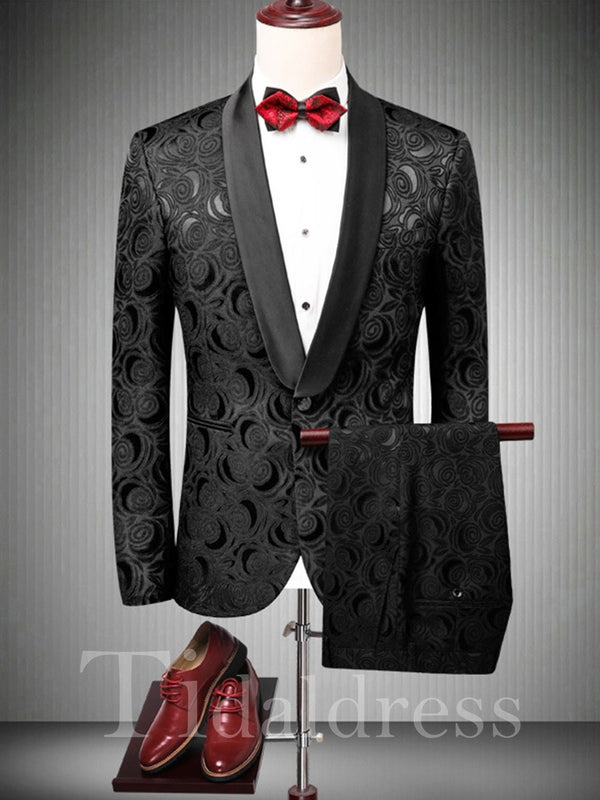 Printed One Button Men's Black Wedding Ball Suits