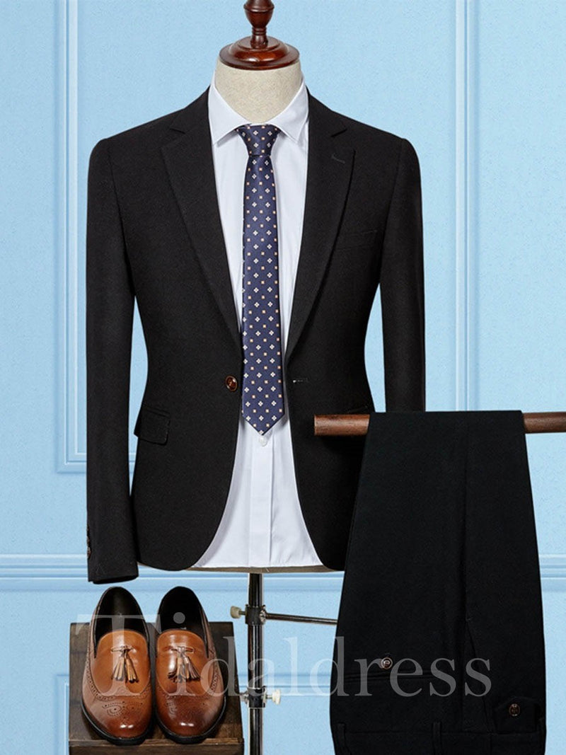 One Button Plain Solid Color Men's Dress Suit