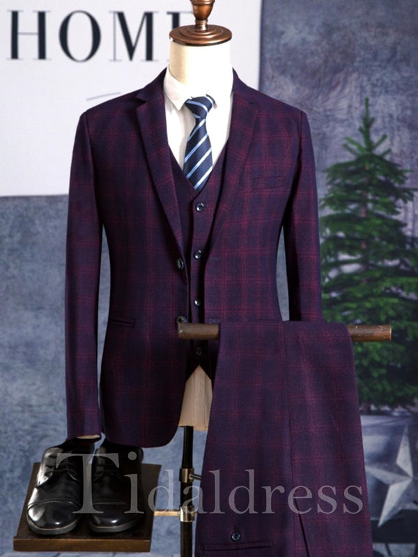 Plaid Color Block Blazer Vest Pants Men's Suit