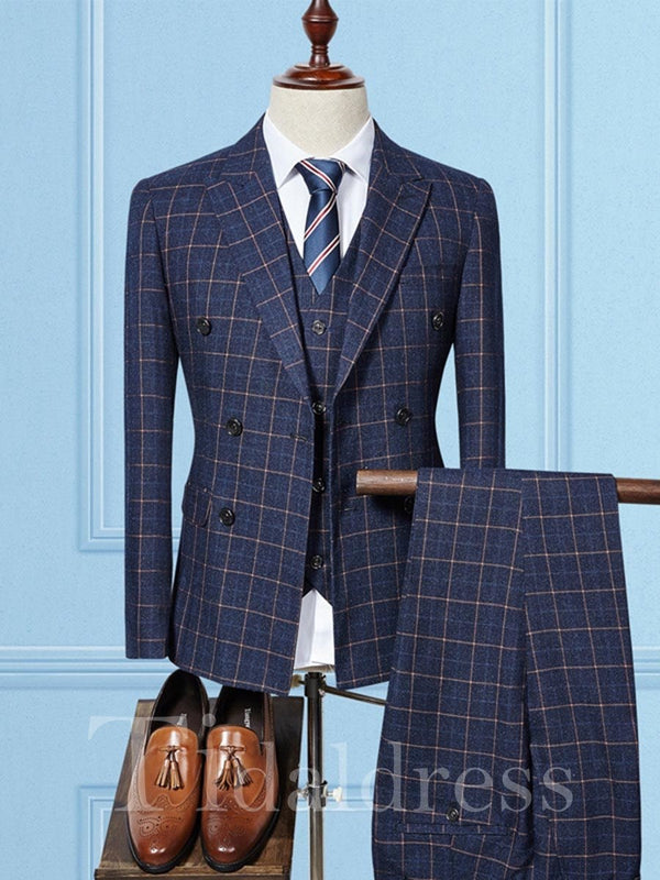 Three Piece Double-Breasted Slim Men's Dress Suit