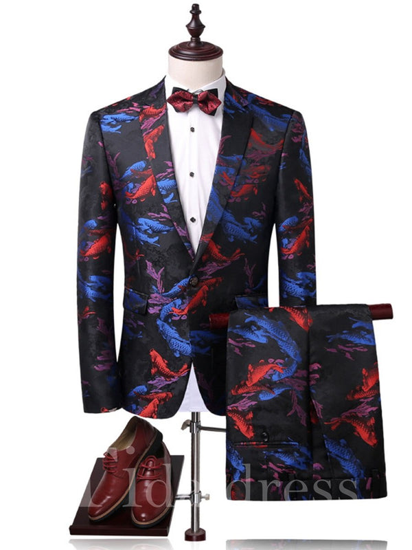 Print Color Block Notched Lapel Men's Suit