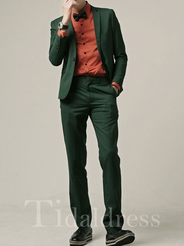 Green Plain Slim Fitted Casual Business Men's Suit
