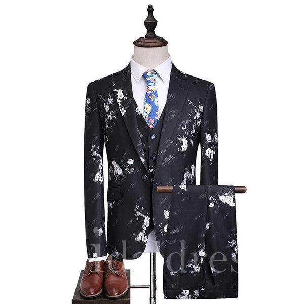 British Style Floral Print One buckle Men's Suits