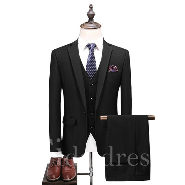 One Button Men's 3 Pieces Casual Business Dress