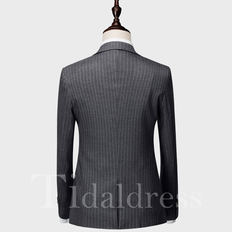 Vertical Striped 3 Pieces Men's Casual Business Suits