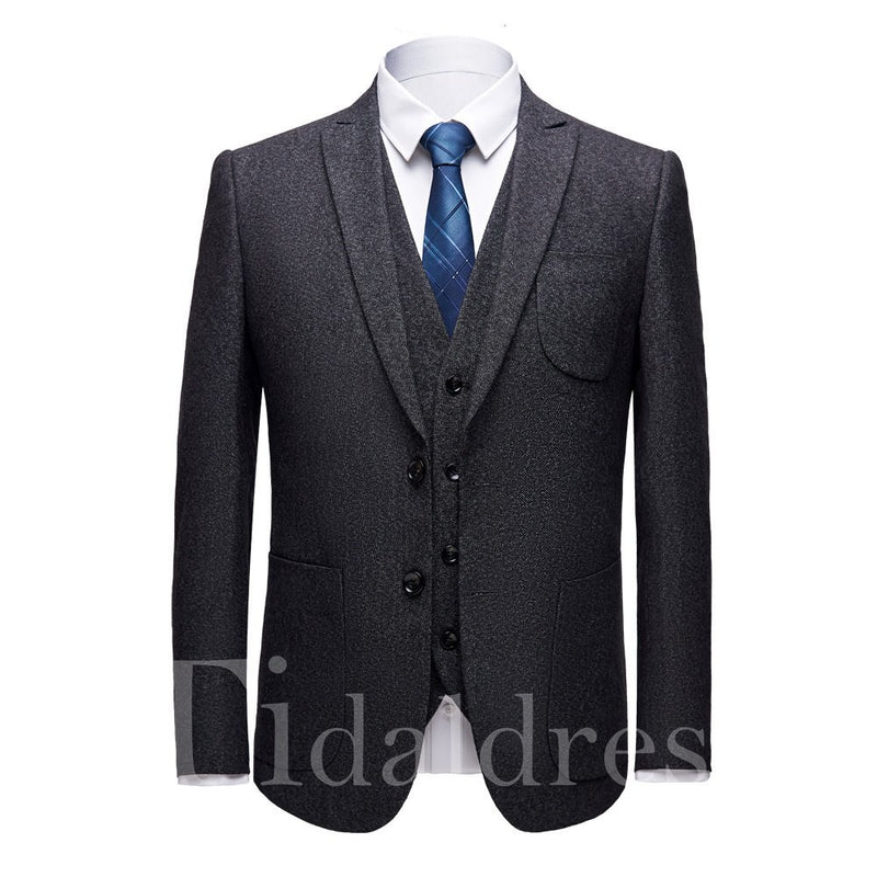 Three Piece England Style Slim Men's Dress Suit