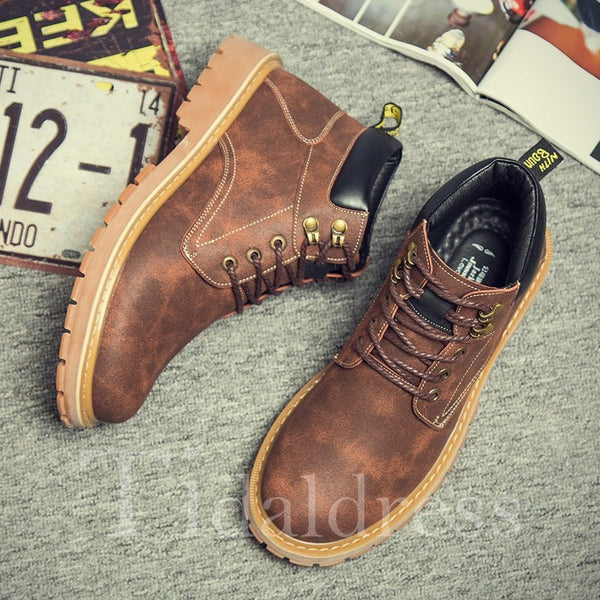 Thread Glueing PU Round Toe Men's Boots