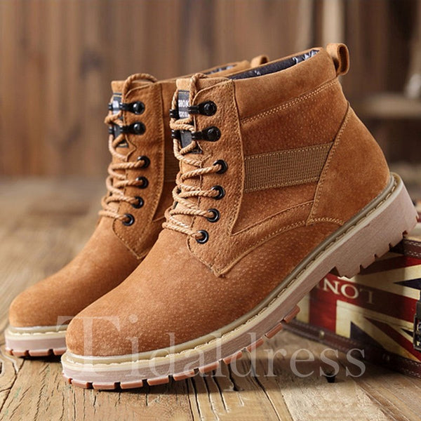 Lace-Up Front Plain Casual Style Men's Boots