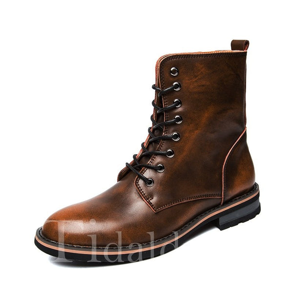 Thread Round Toe PU Sewing Men's Boots