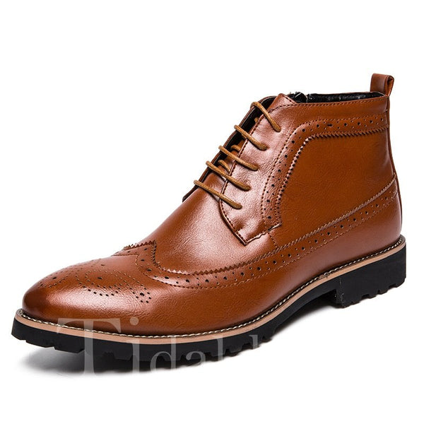 Side-Zipper Hollow Sewing Casual Style Men's Boots