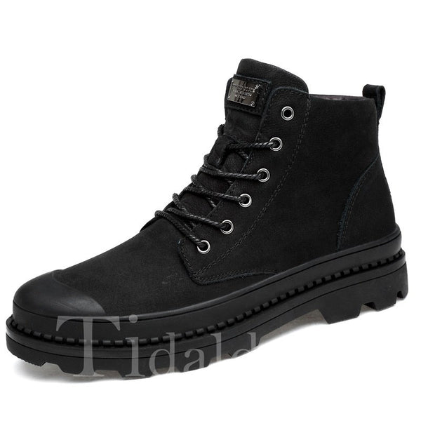 Lace-Up Front Casual Style PU Men's Boots