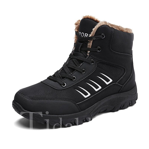 Color Block Lace-Up Front PU Men's Boots