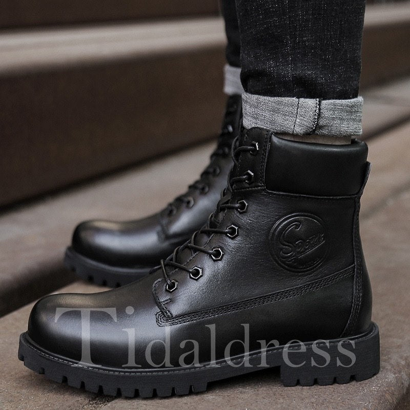 Mid-Calf Glueing Plain Round Toe Men's Boots