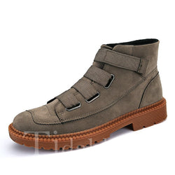 Round Toe Elastic Glueing Plain Men's Boots
