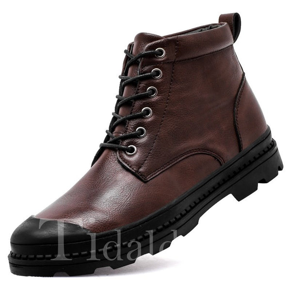 Plain Glueing Lace-Up Front PU Men's Boots