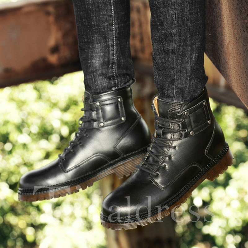 Ankle PU Round Toe Lace-Up Front Men's Boots