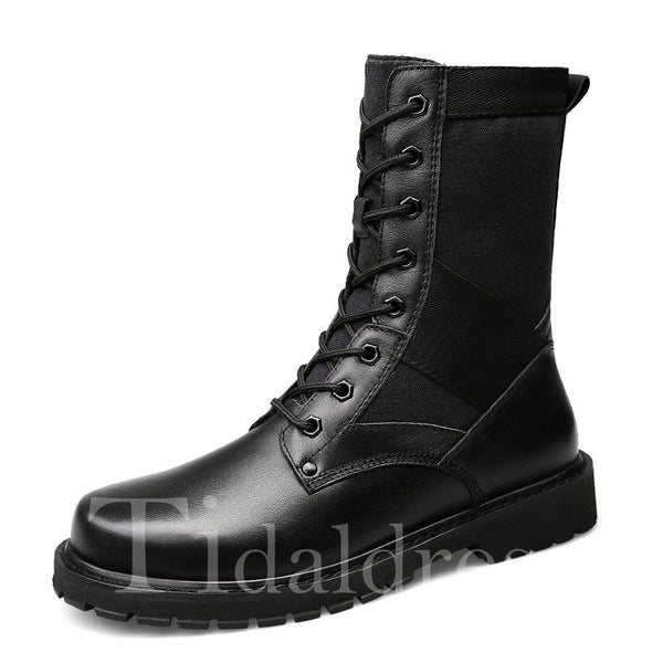 Large Size Plain Mid-Calf Men's Martin Boots