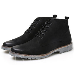 Thread Lace-Up Front Round Toe Men's Boots