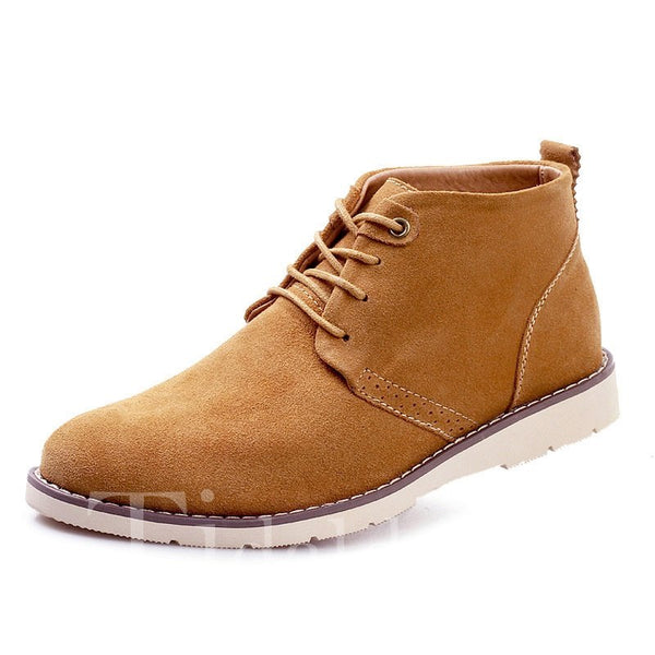 Ankle PU Solid Color Lace-Up Martin Boots