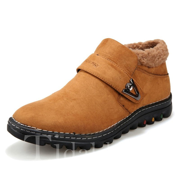 Slip-On Glueing Solid Color Buckled Ankle Boots