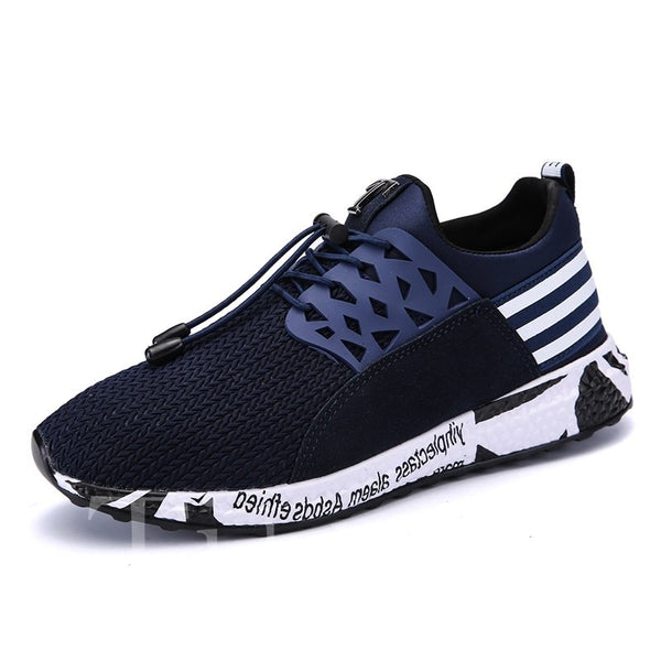 Round Toe Glueing Stripe Mesh Men's Sneakers