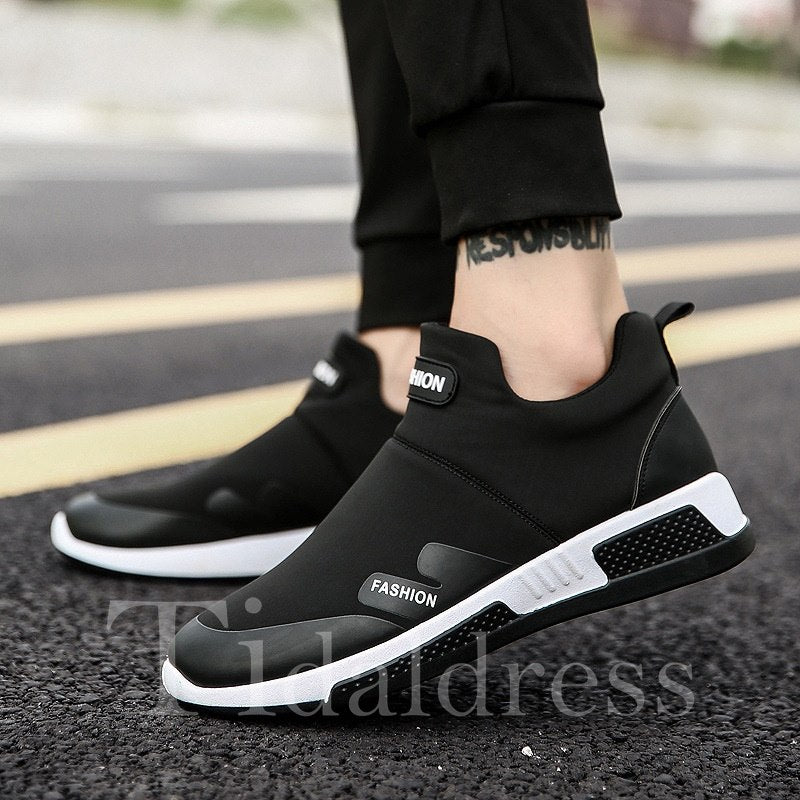 Print Letter Slip-On PU Round Toe Men's Sneakers