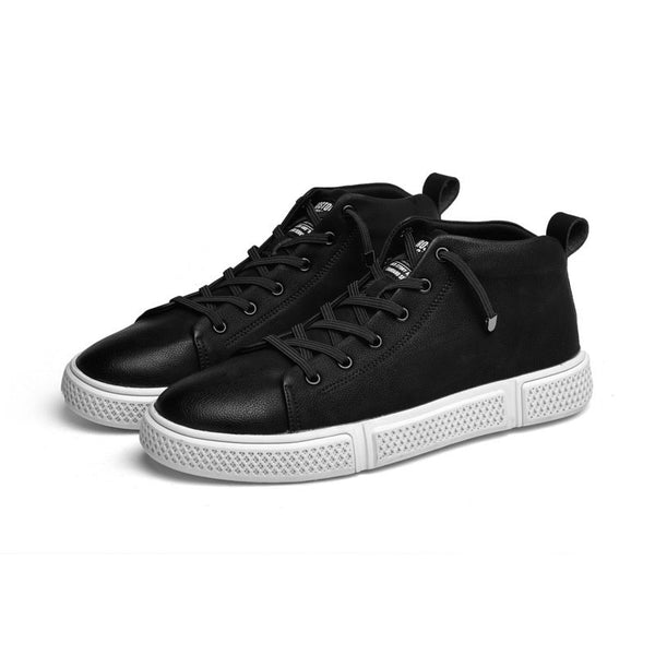 Round Toe Lace-Up PU Men's Skater Shoes