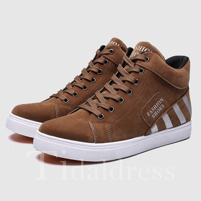 Stripe Glueing Lace-Up Men's Skater Shoes