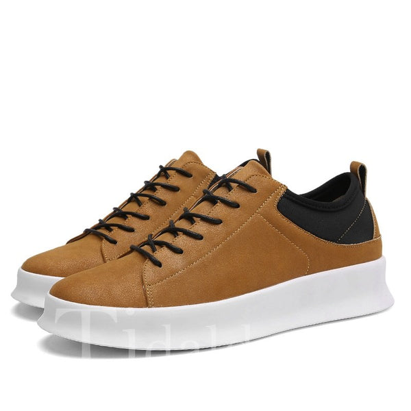 Glueing Lace-Up Round Toe Men's Skater Shoes