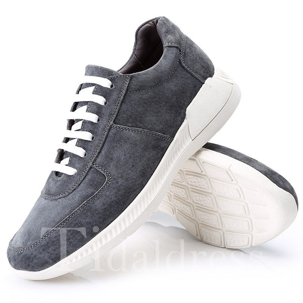 Plain Glueing Lace-Up PU Men's Skater Shoes