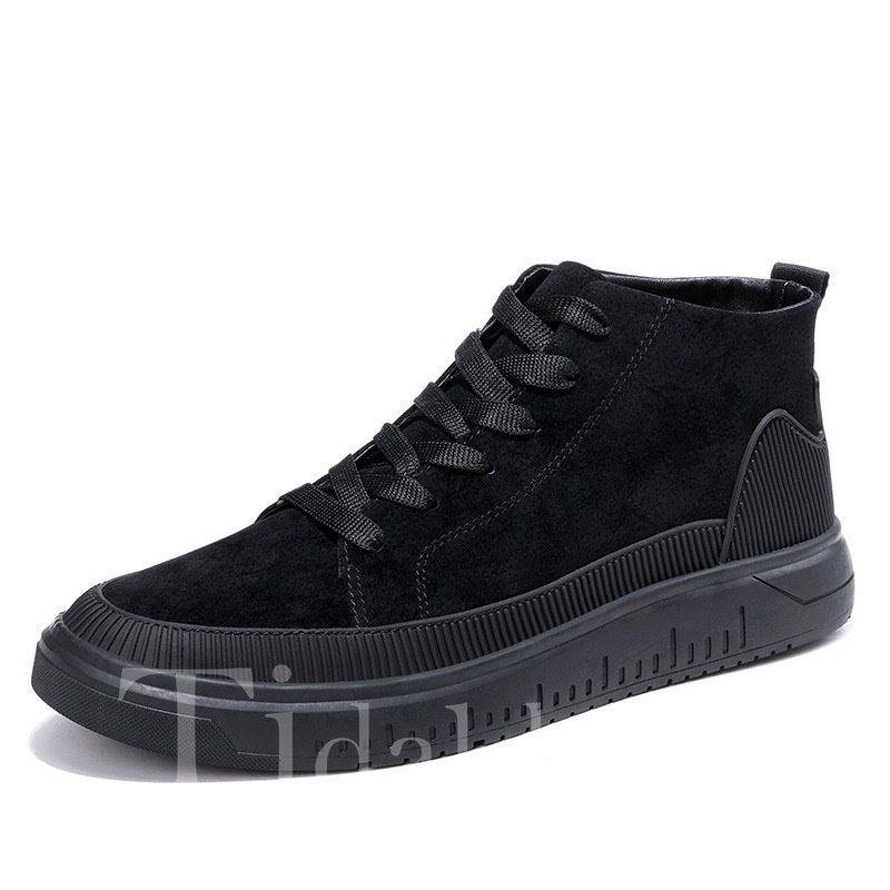 Lace-Up PU Round Toe Men's Skater Shoes