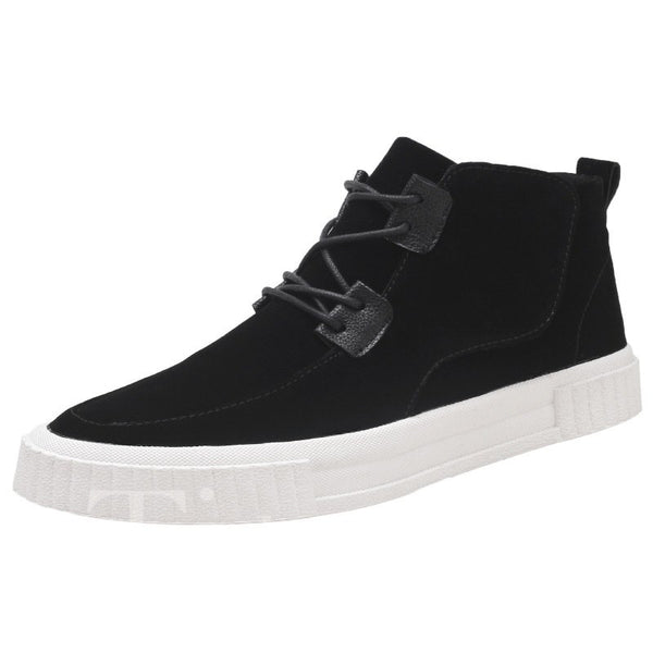 PU Round Toe Lace-Up Men's Skater Shoes