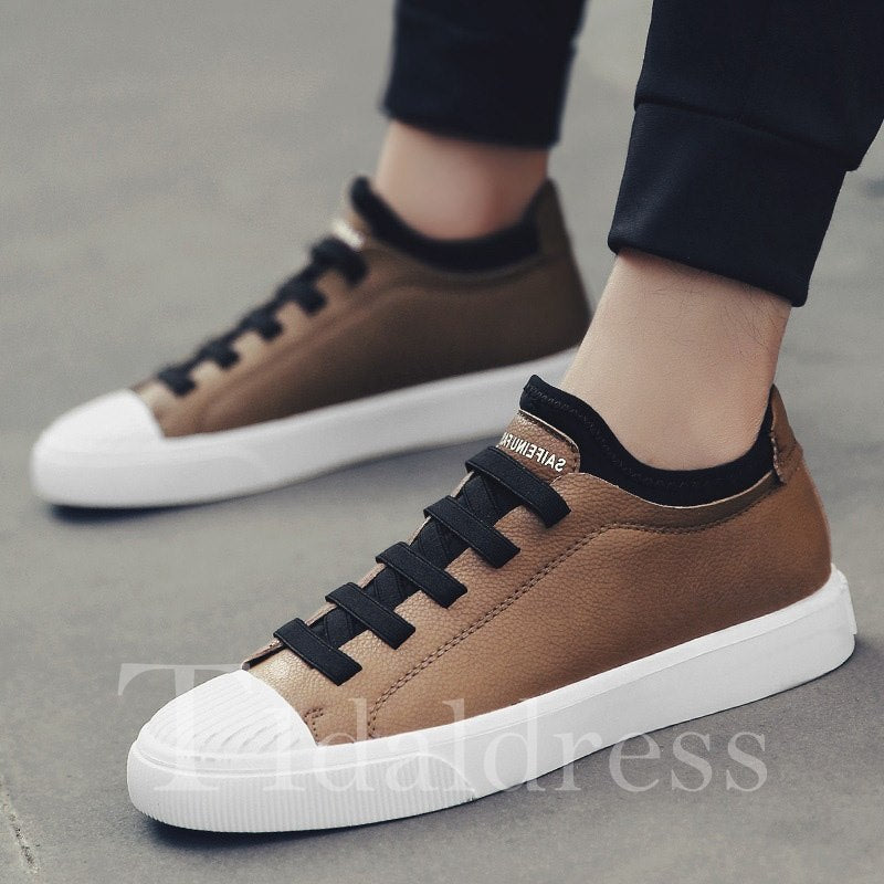Patchwork Glueing Lace-Up Men's Skater Shoes