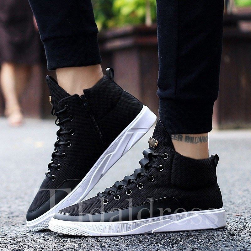 Casual Lace-Up Print Round Toe Sneakers